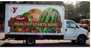 A fresh food distribution truck